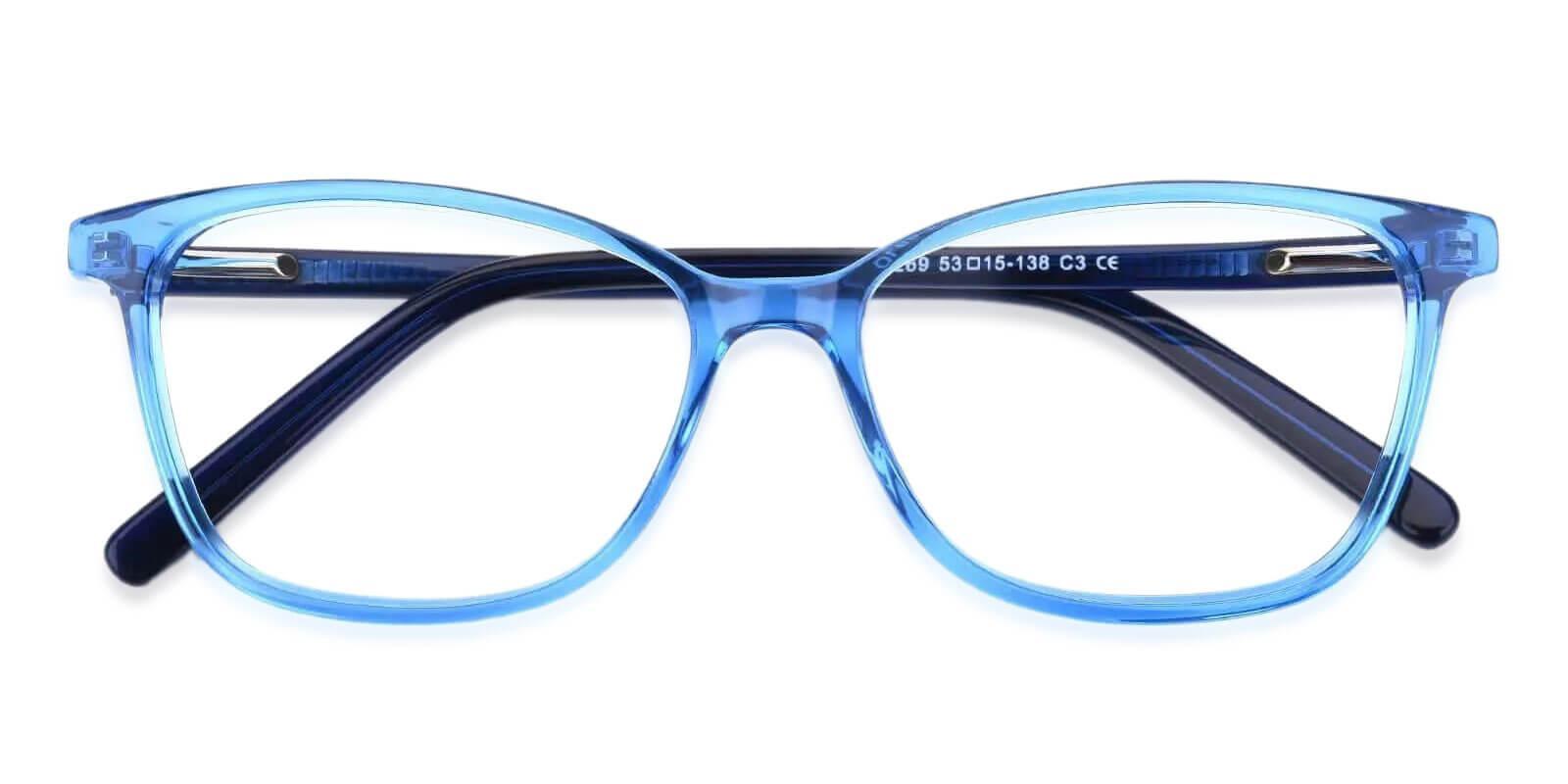 Belize Blue Acetate Eyeglasses , SpringHinges , UniversalBridgeFit Frames from ABBE Glasses