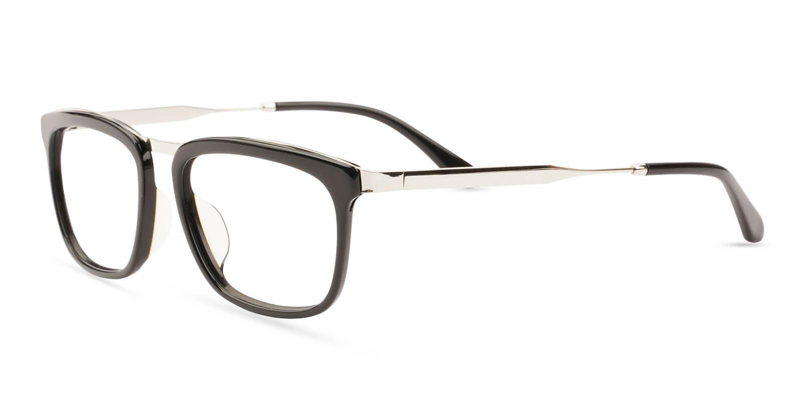 Audrey Black Acetate , Metal Eyeglasses , UniversalBridgeFit Frames from ABBE Glasses