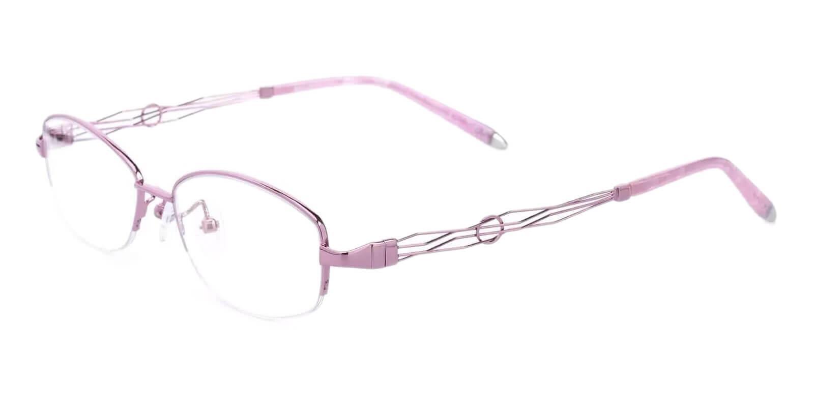 Aaliyah Pink Metal Eyeglasses , NosePads Frames from ABBE Glasses