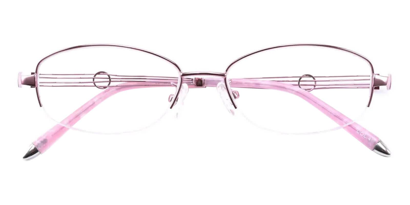 Aaliyah Pink Metal Eyeglasses , NosePads Frames from ABBE Glasses