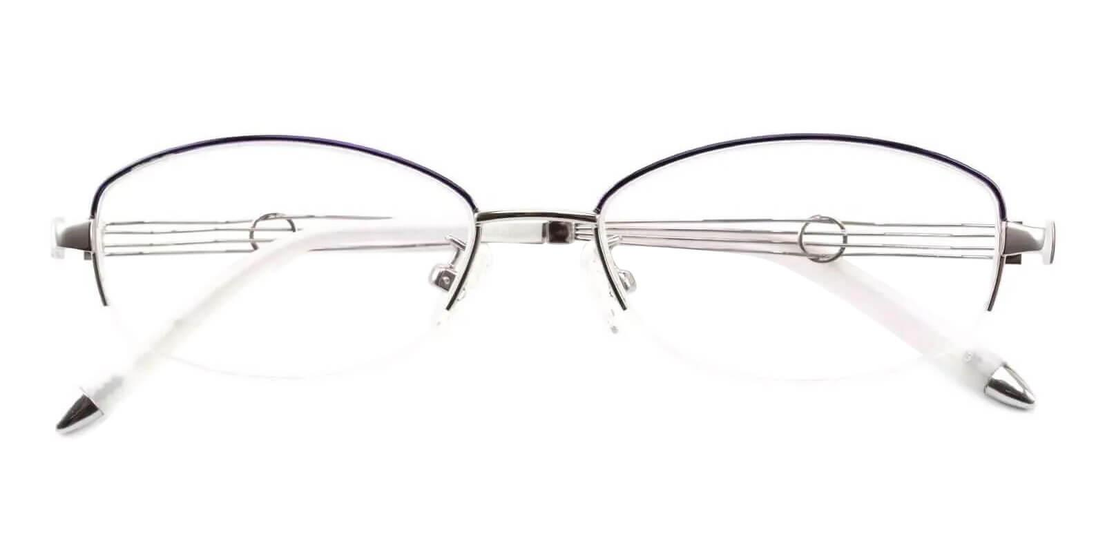Aaliyah Silver Metal Eyeglasses , NosePads Frames from ABBE Glasses