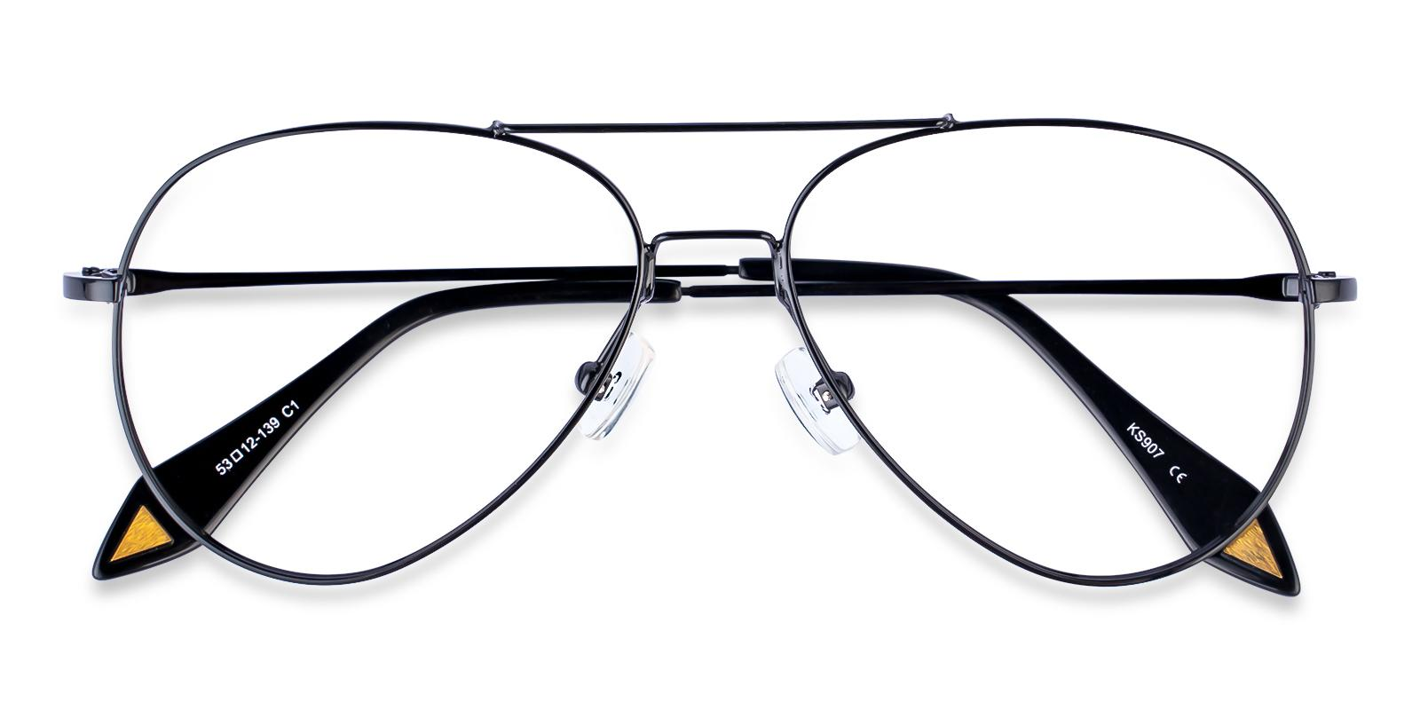 Malawi Black Metal Eyeglasses , NosePads Frames from ABBE Glasses