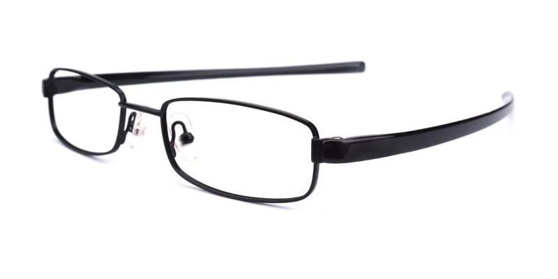 Black Samuel - Metal Eyeglasses , Lightweight , NosePads