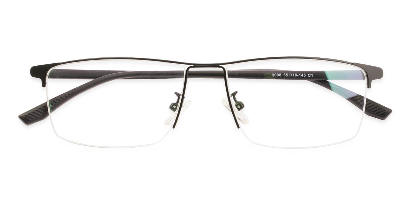 Isaac Black Metal Eyeglasses , NosePads Frames from ABBE Glasses