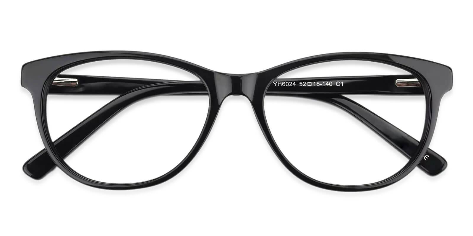 Neptune Black Acetate Eyeglasses , SpringHinges , UniversalBridgeFit Frames from ABBE Glasses