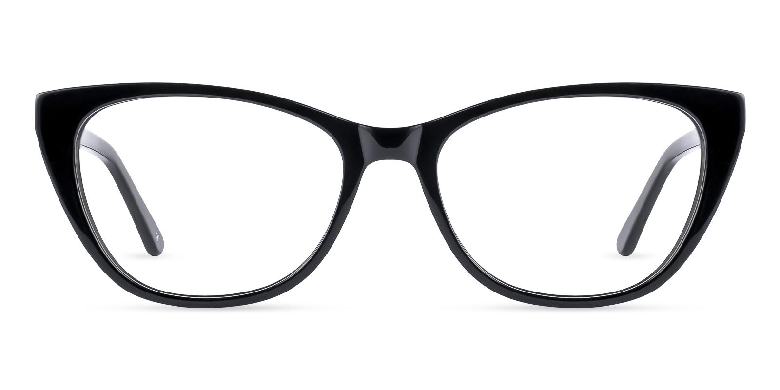 Tune Black Acetate Eyeglasses , SpringHinges , UniversalBridgeFit Frames from ABBE Glasses