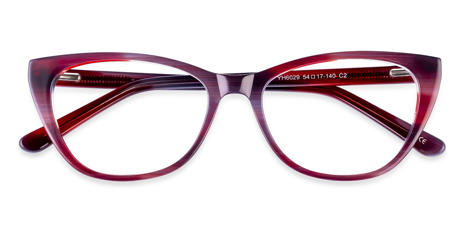 Tune Red Acetate Eyeglasses , SpringHinges , UniversalBridgeFit Frames from ABBE Glasses
