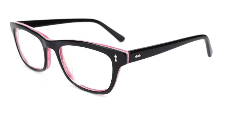 Pink Leaf - Acetate ,Universal Bridge Fit