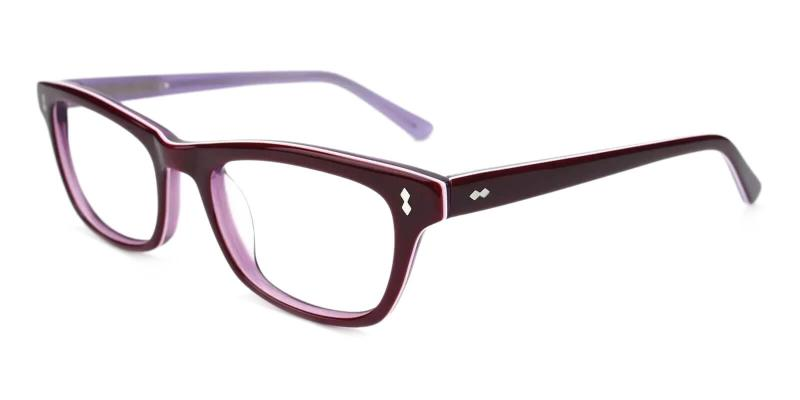 Purple Leaf - Acetate ,Universal Bridge Fit