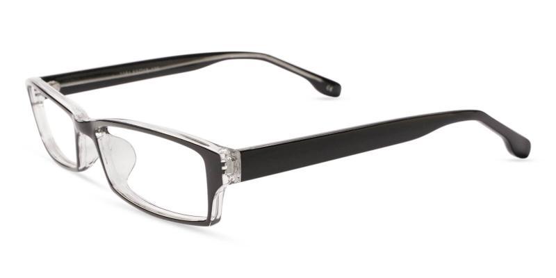 Black Ebony - Plastic Eyeglasses , UniversalBridgeFit