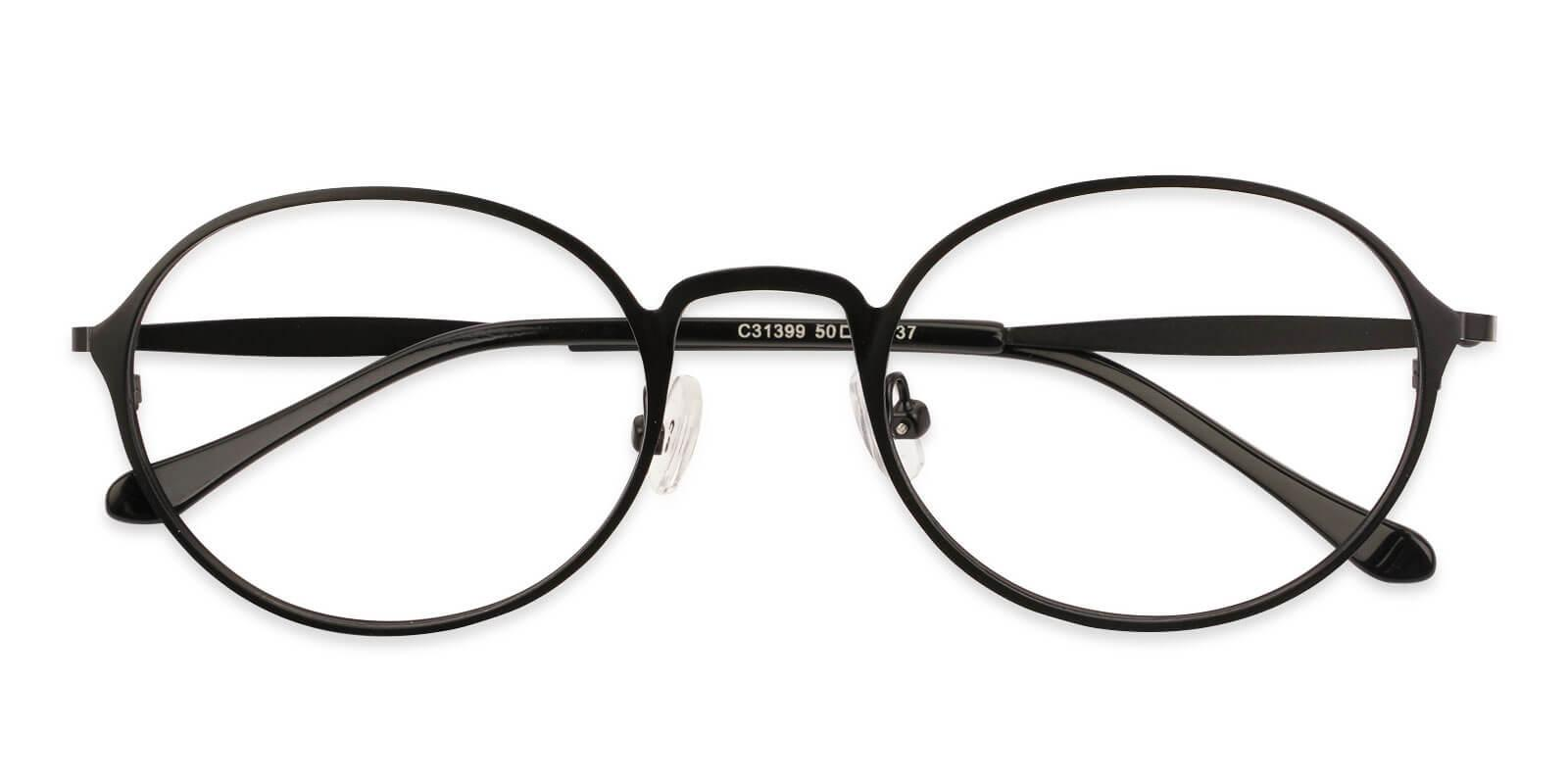 Toughery Black Metal Eyeglasses , NosePads Frames from ABBE Glasses