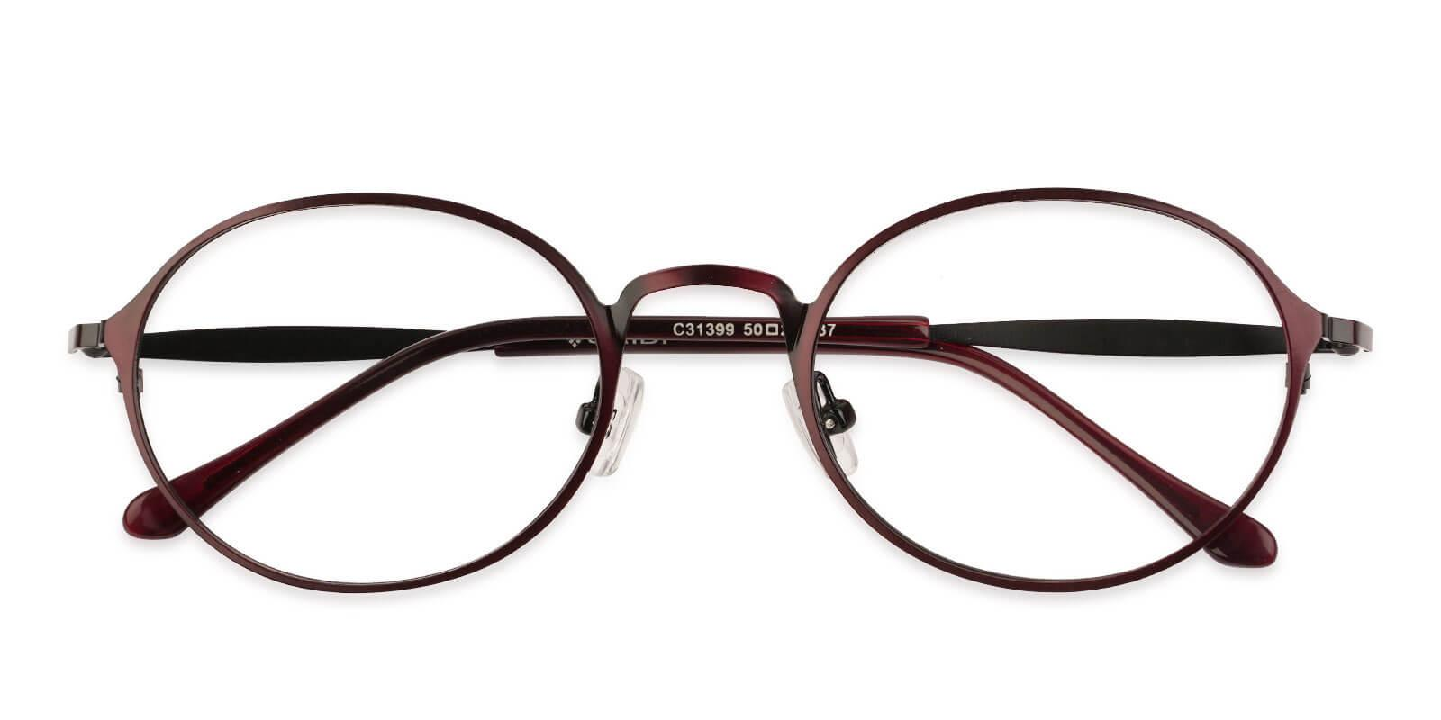 Toughery Red Metal Eyeglasses , NosePads Frames from ABBE Glasses