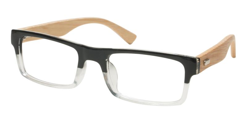 Black Mini-pandaing - Acetate , Bamboo Eyeglasses , UniversalBridgeFit
