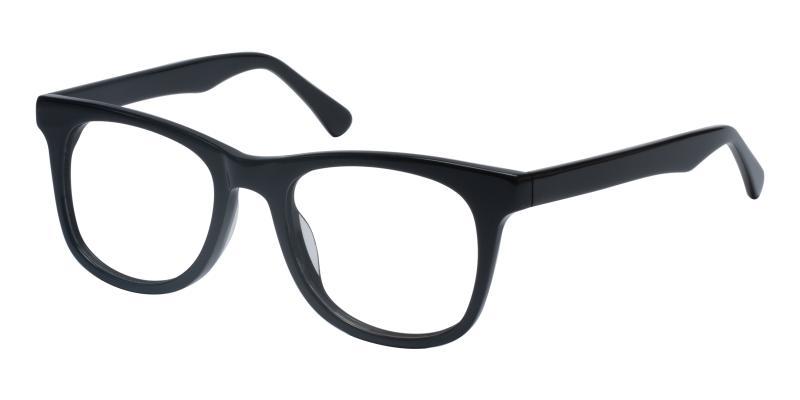 Black Standie - Acetate Eyeglasses , UniversalBridgeFit