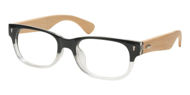 Black Pandaing - Acetate , Bamboo Eyeglasses , UniversalBridgeFit
