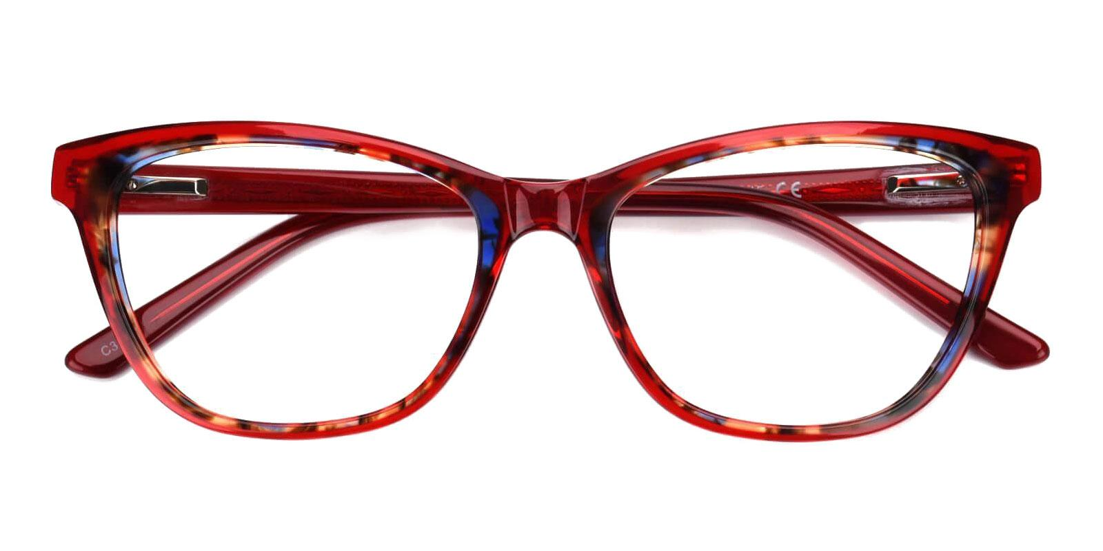 Strauss Red Acetate Eyeglasses , UniversalBridgeFit Frames from ABBE Glasses