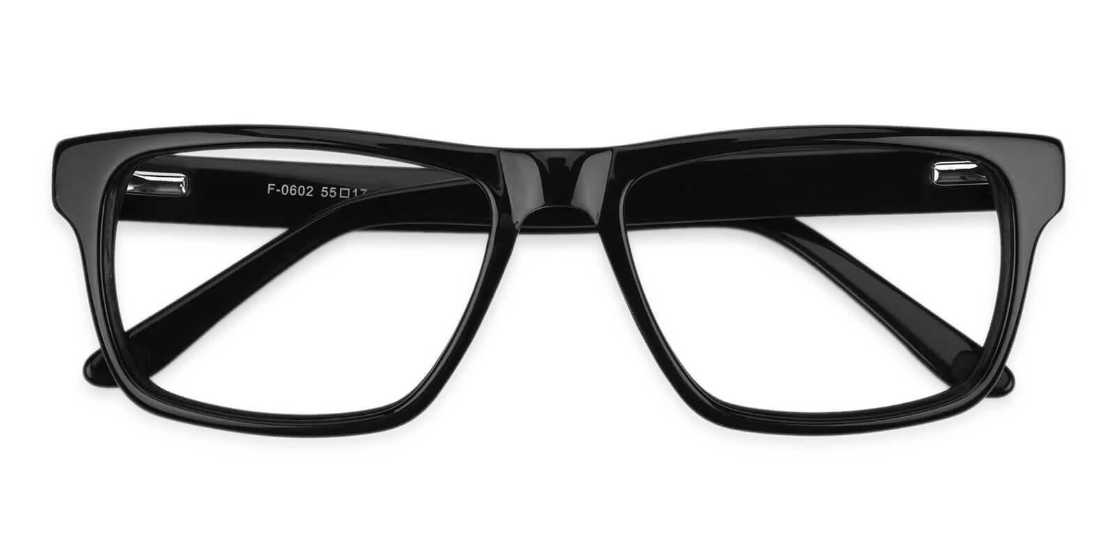 Outline Black Acetate Eyeglasses , SpringHinges , UniversalBridgeFit Frames from ABBE Glasses
