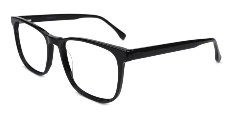 Black Kinjin - Acetate Eyeglasses , SpringHinges , UniversalBridgeFit