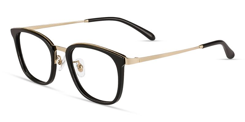 Black Explorer - Metal Eyeglasses , NosePads