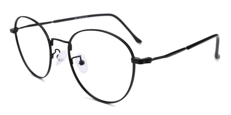 Black Savvy - Metal Eyeglasses , Lightweight , NosePads