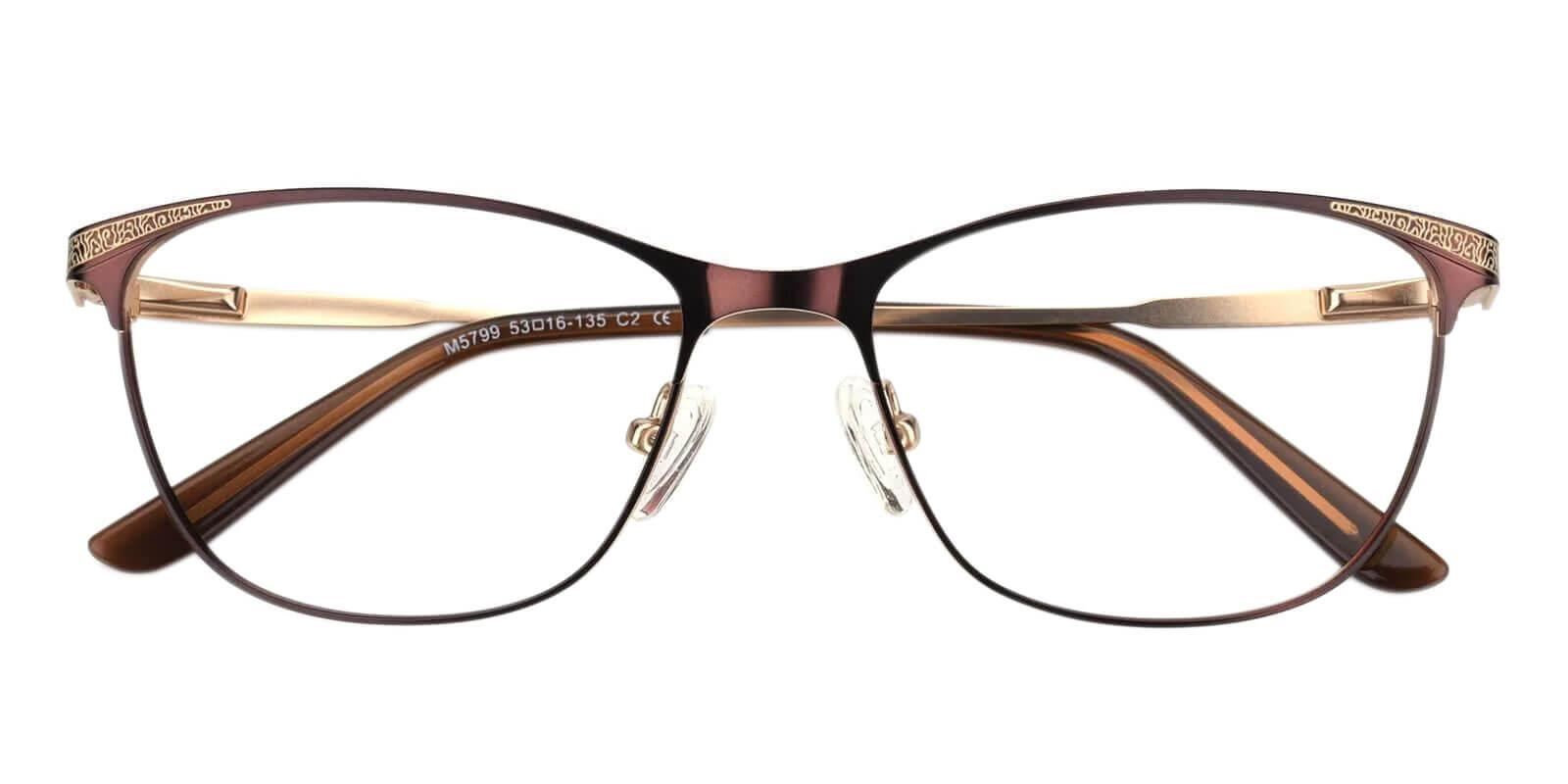 Helix Brown Metal Eyeglasses , NosePads , SpringHinges Frames from ABBE Glasses