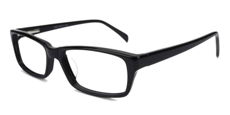 Black Charleston - Acetate Eyeglasses , SpringHinges , UniversalBridgeFit