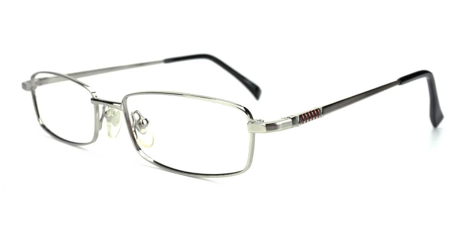 Curie Silver Metal Eyeglasses , NosePads Frames from ABBE Glasses