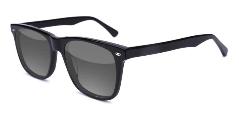 Black Hepburn - Acetate SpringHinges , Sunglasses , UniversalBridgeFit