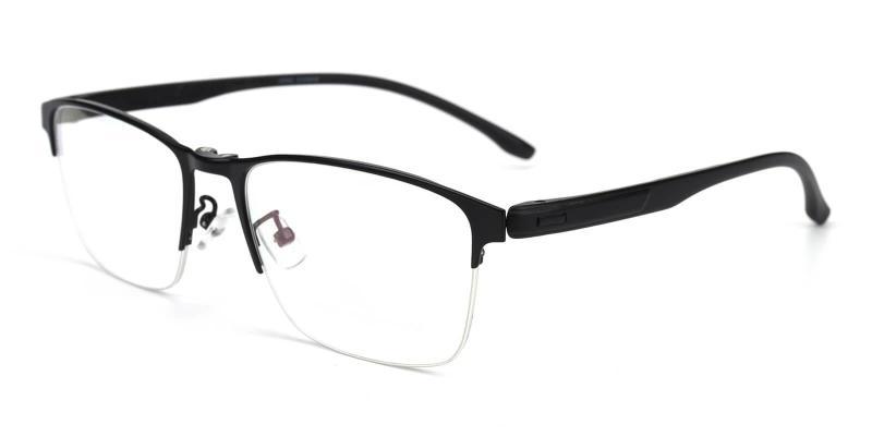 Black Ferrous - Metal Eyeglasses , NosePads , SpringHinges