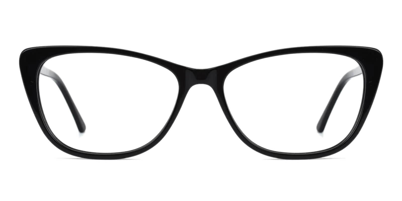 Yuke Black Acetate Eyeglasses , SpringHinges , UniversalBridgeFit Frames from ABBE Glasses