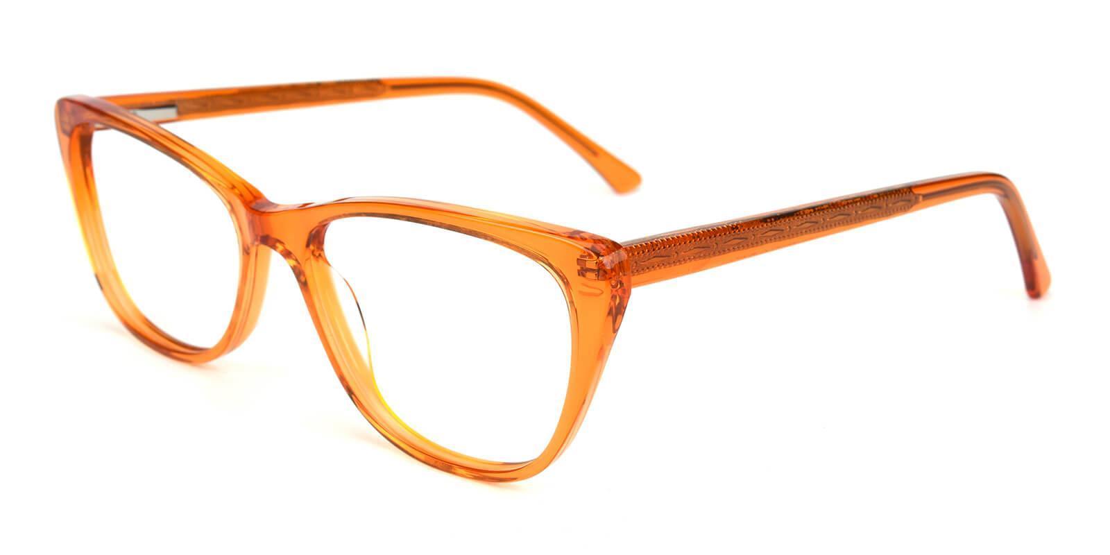 Yuke Orange Acetate Eyeglasses , SpringHinges , UniversalBridgeFit Frames from ABBE Glasses
