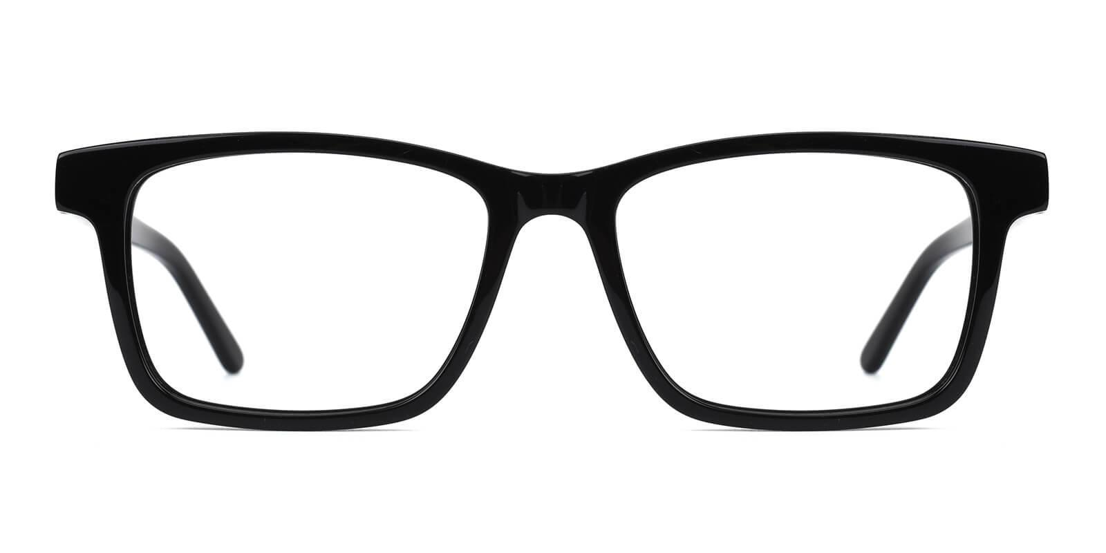 Versa Black Acetate Eyeglasses , SpringHinges , UniversalBridgeFit Frames from ABBE Glasses