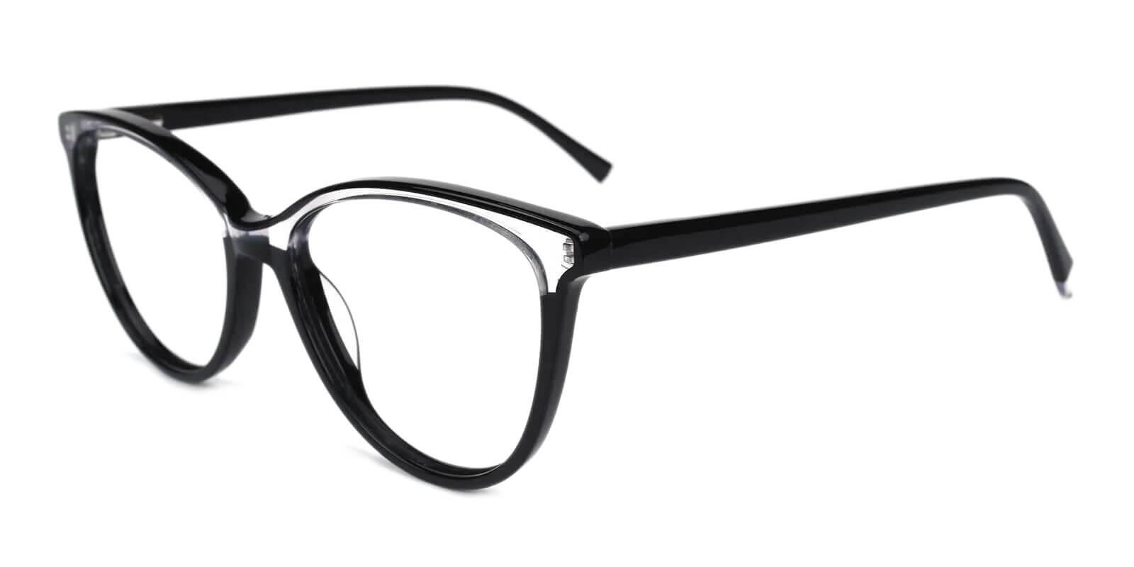 Magnus Black Acetate Eyeglasses , SpringHinges , UniversalBridgeFit Frames from ABBE Glasses