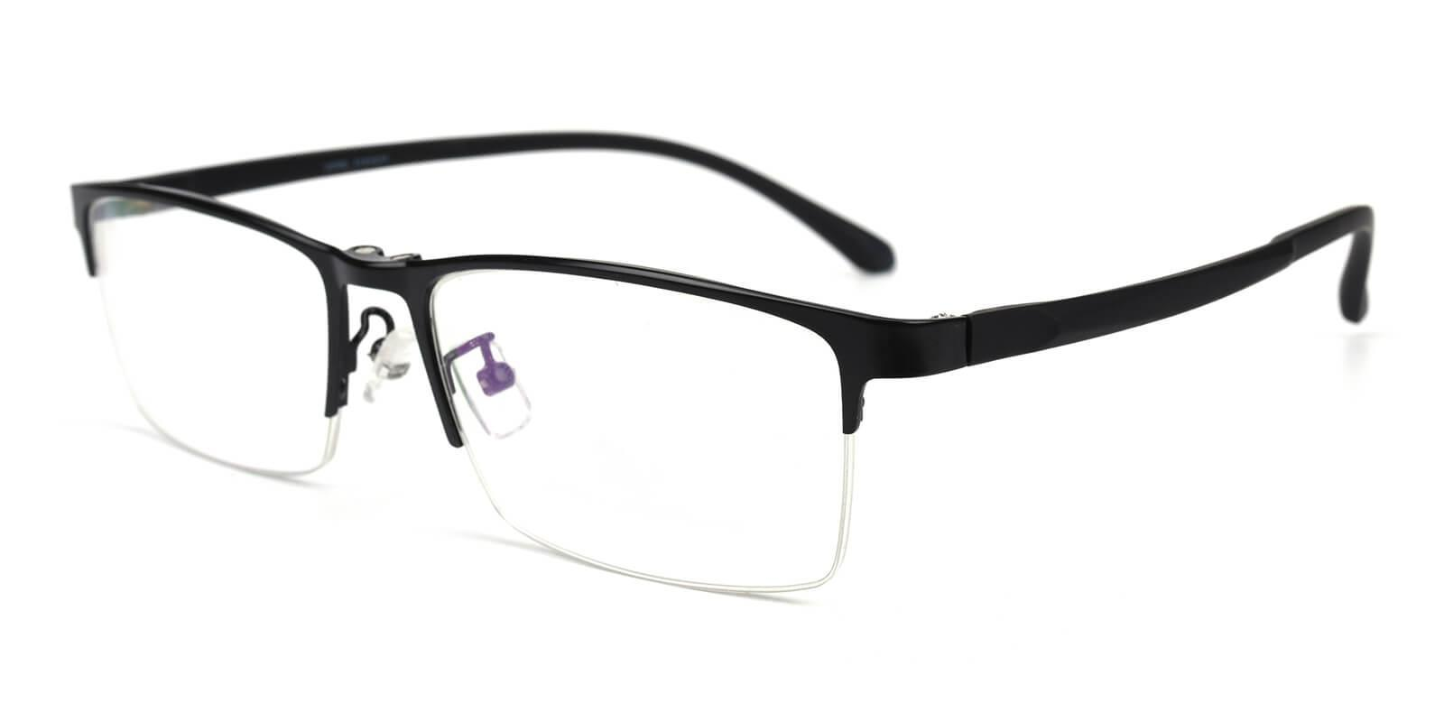 Melody Black Metal Eyeglasses , NosePads , SpringHinges Frames from ABBE Glasses