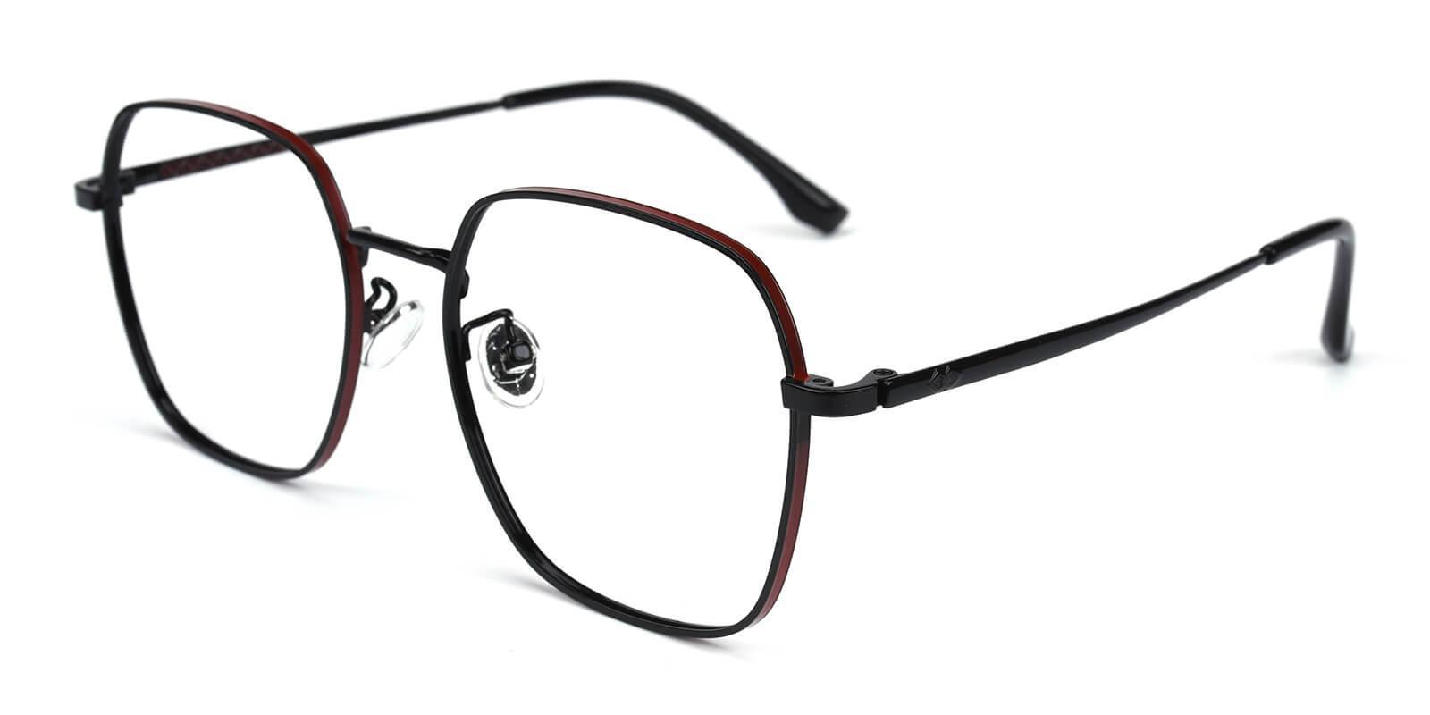 Thelma Black Metal Eyeglasses , NosePads , SpringHinges Frames from ABBE Glasses