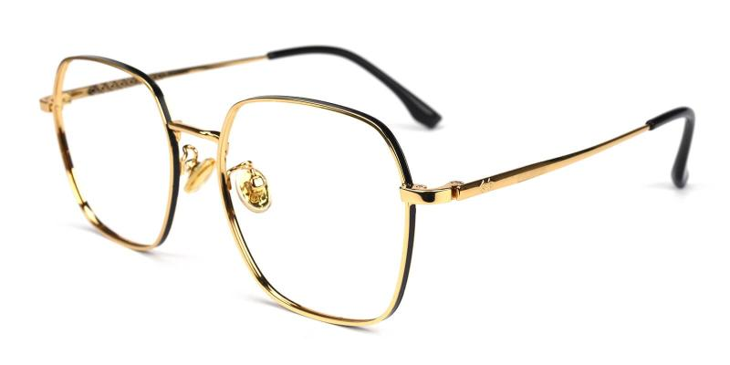 Gold Thelma - Metal Eyeglasses , NosePads , SpringHinges