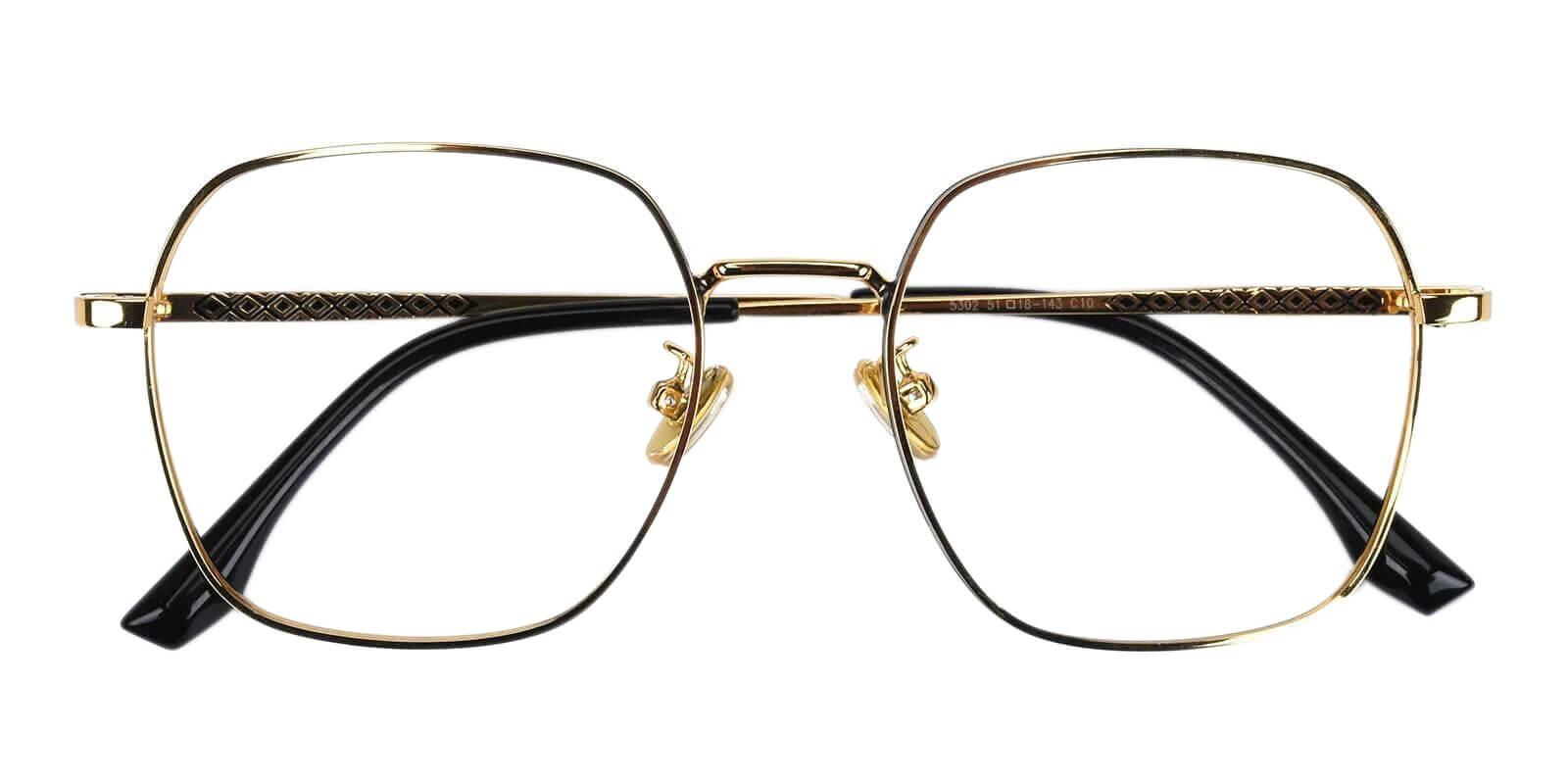 Thelma Gold Metal Eyeglasses , NosePads , SpringHinges Frames from ABBE Glasses