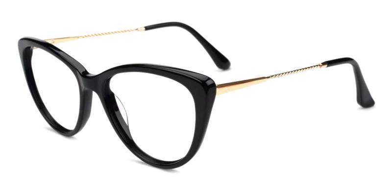 Black Satin - Acetate , Metal Eyeglasses , Fashion , SpringHinges , UniversalBridgeFit