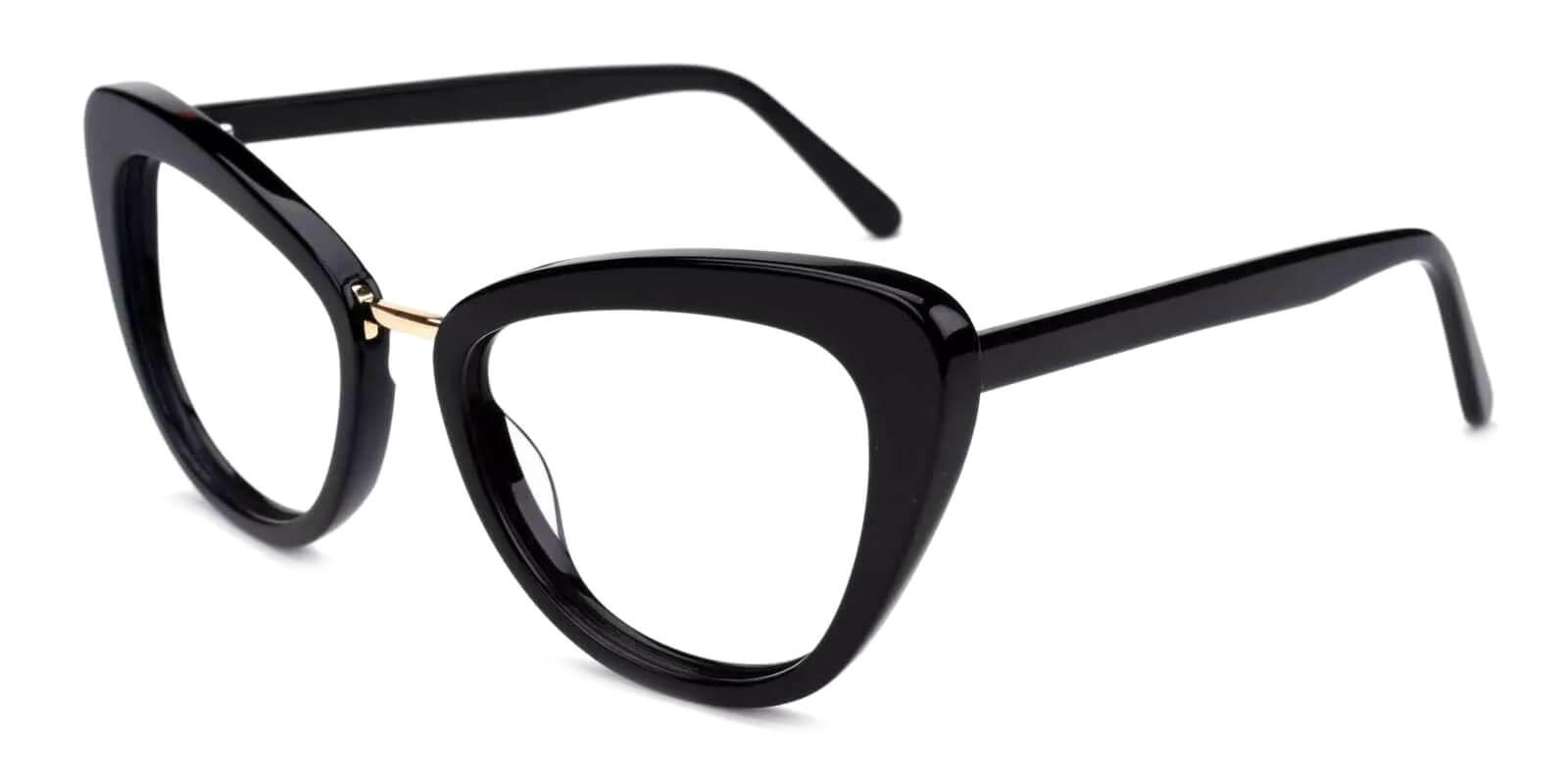 Lizzy Black Acetate Eyeglasses , Fashion , SpringHinges , UniversalBridgeFit Frames from ABBE Glasses