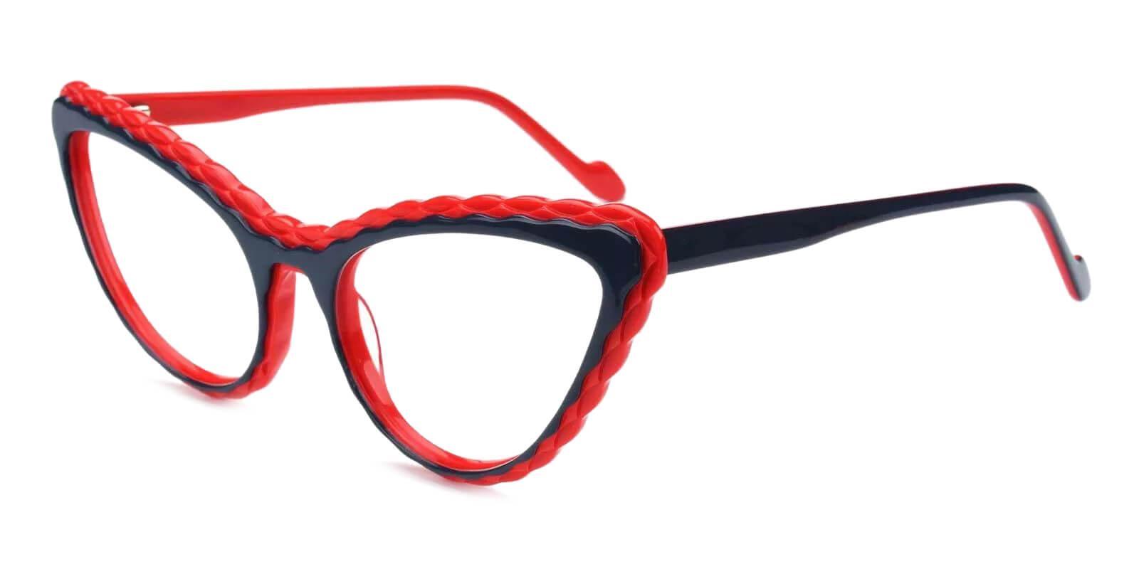 Harmt Red Acetate Eyeglasses , Fashion , SpringHinges , UniversalBridgeFit Frames from ABBE Glasses