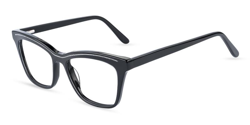 Black Kate - Acetate Eyeglasses , Fashion , SpringHinges , UniversalBridgeFit