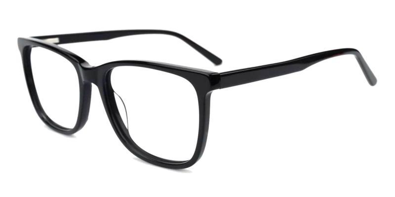 Black Gulio - Acetate Eyeglasses , Fashion , SpringHinges , UniversalBridgeFit
