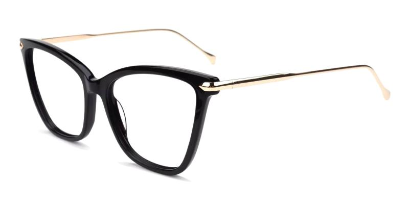 Black Queenie - Acetate , Metal Eyeglasses , Fashion , UniversalBridgeFit