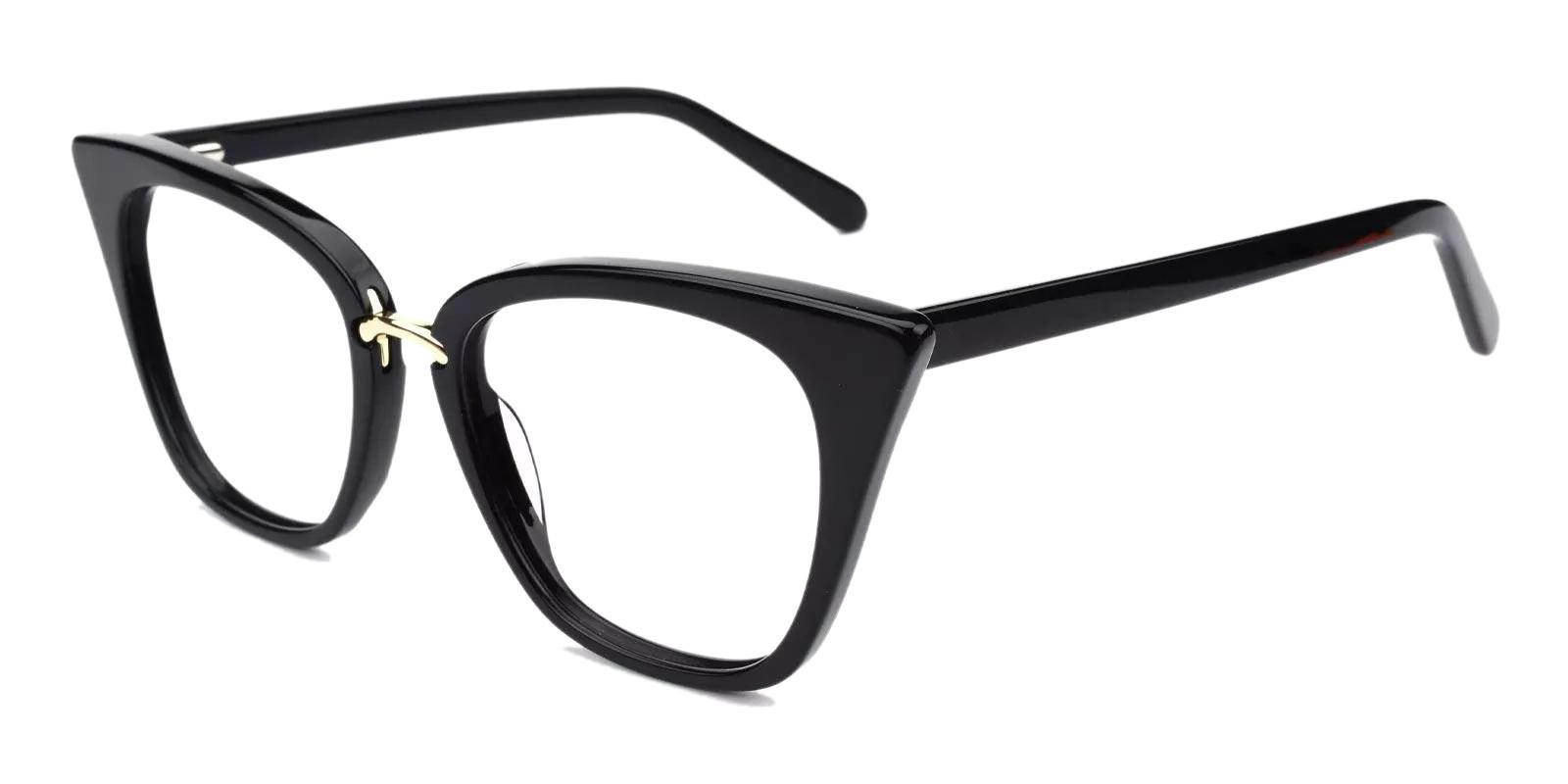 Damara Black Acetate , Metal Eyeglasses , Fashion , SpringHinges , UniversalBridgeFit Frames from ABBE Glasses