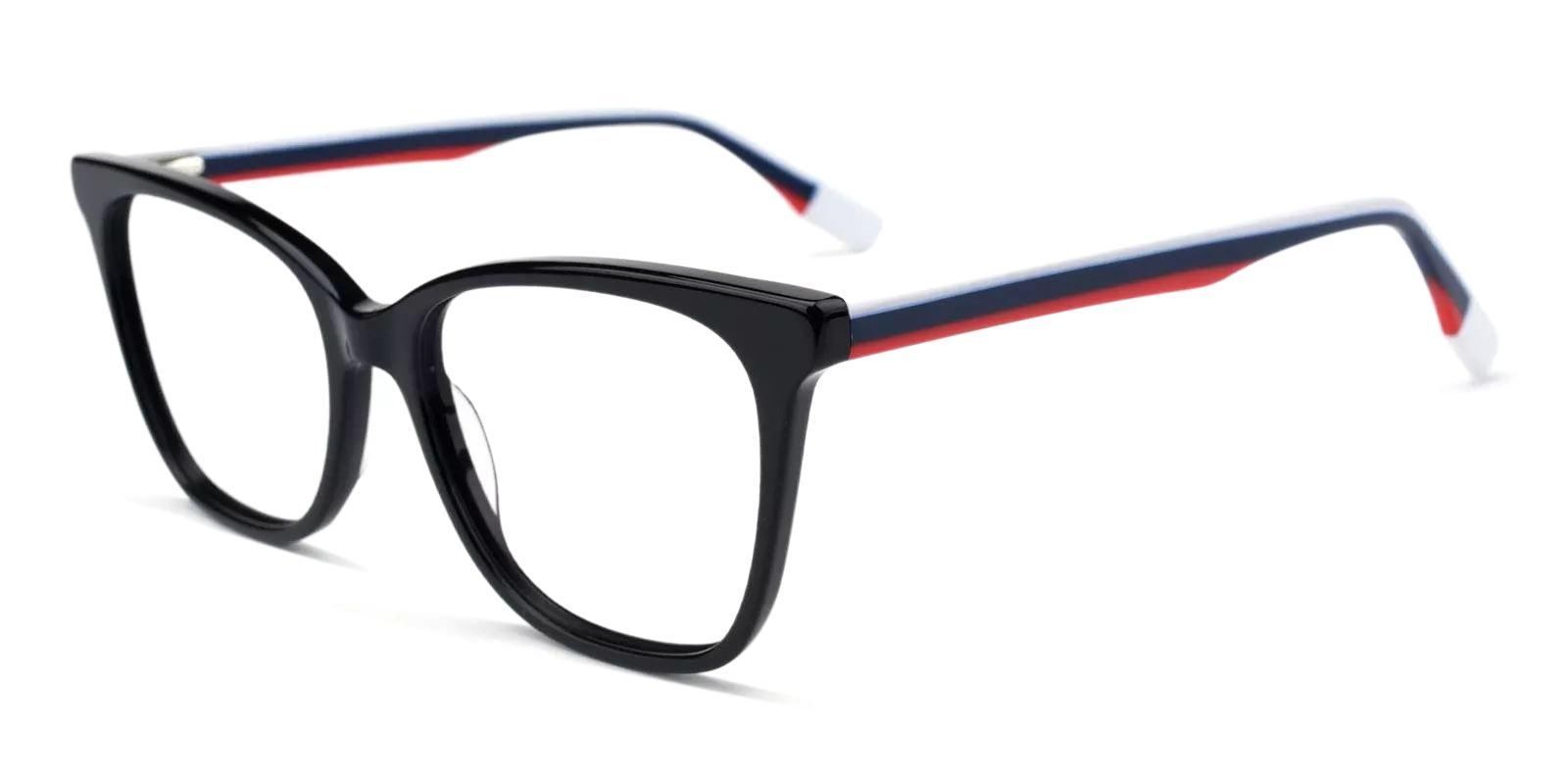 Pamela Black Acetate Eyeglasses , Fashion , SpringHinges , UniversalBridgeFit Frames from ABBE Glasses