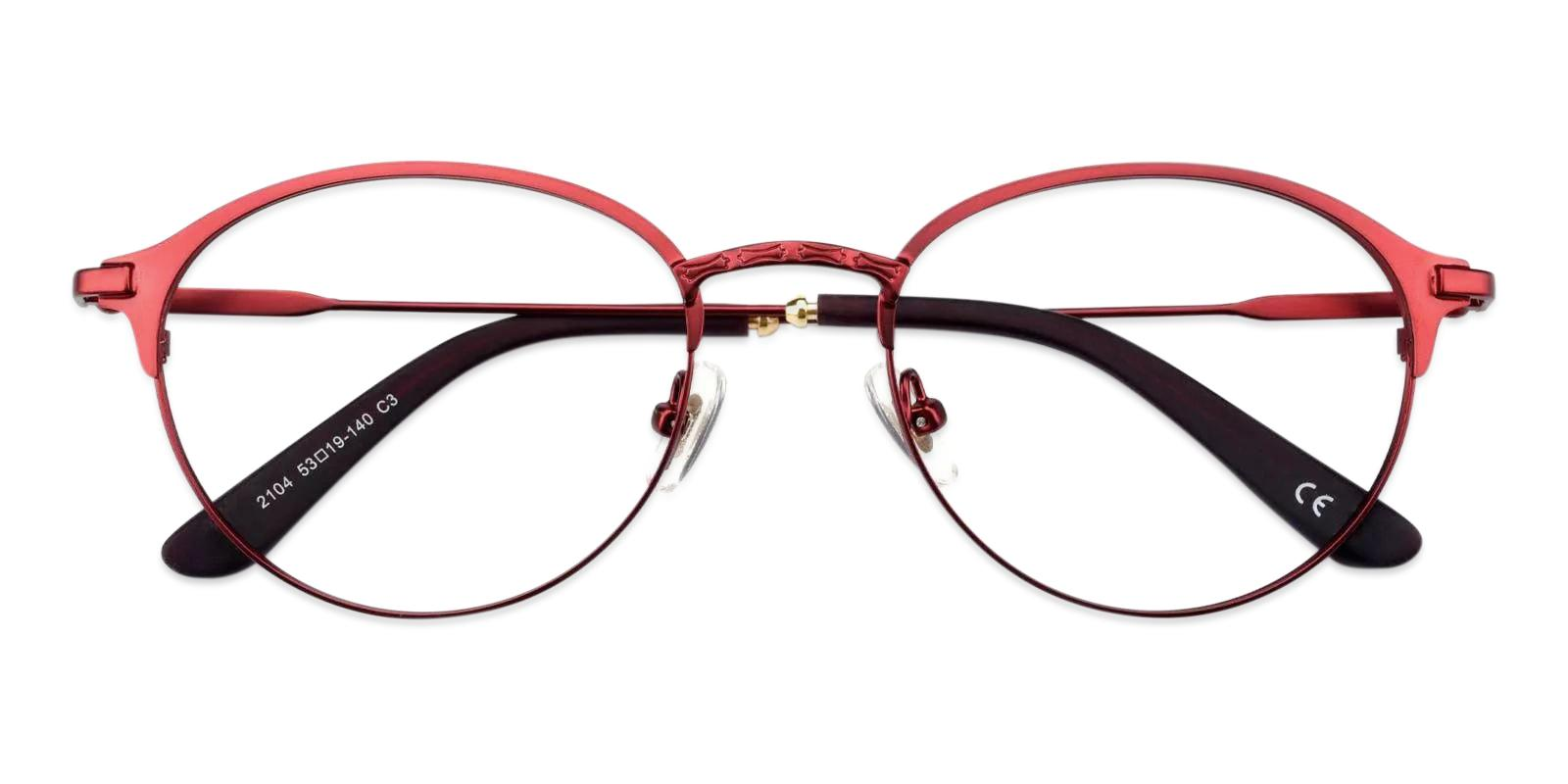 Irvin Red Metal Eyeglasses , Fashion , NosePads Frames from ABBE Glasses