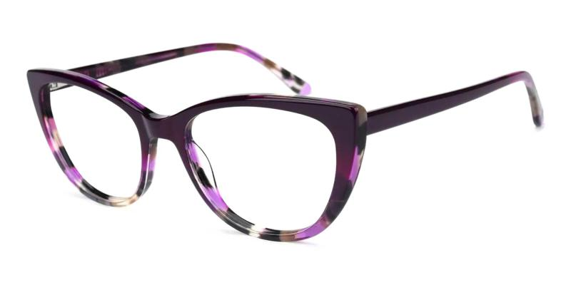 Purple Freda - Acetate ,Universal Bridge Fit